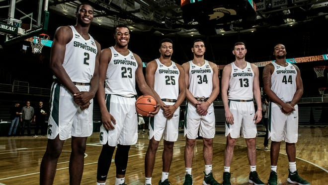 From left, Michigan State's Jaren Jackson, Xavier Tillman, Kenny Goins, Gavin Schilling, Ben Carter and Nick Ward photographed on Wednesday, Oct. 11, 2017, at the Breslin Center in East Lansing.