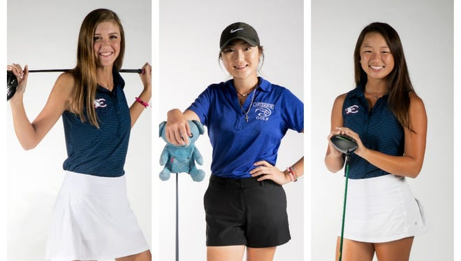 The News-Press All-Area Girls Golfer of the Year finalists are (from left) Kelli Kragh, Brittany Shin and Kim Egozi.