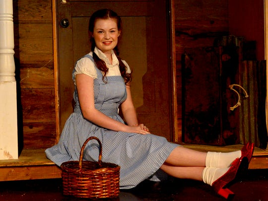 """Dorothy (Amanda Derbyshire) dons the iconic red slippers as she ventures to see the """"Wizard of Oz.' The production opens at the Wichita Theatre Sept. 9 and runs through Oct. 7."""