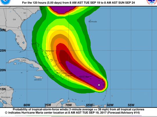Wind speed probabilities of Hurricane Maria. 2 p.m., Sept. 19, 2017.