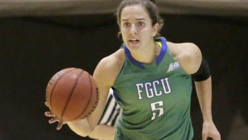 FGCU Eagles Sarah Hansen (5) controls the ball during the basketball game against FIU Panthers Friday, November 8, 2013 at U.S. Century Bank Arena in Miami