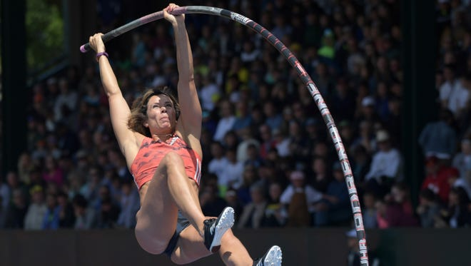 Jenn Suhr of Riga wins the women's pole vault  at 15-11 during the 44th Prefontaine Classic in an IAAF Diamond League meet.