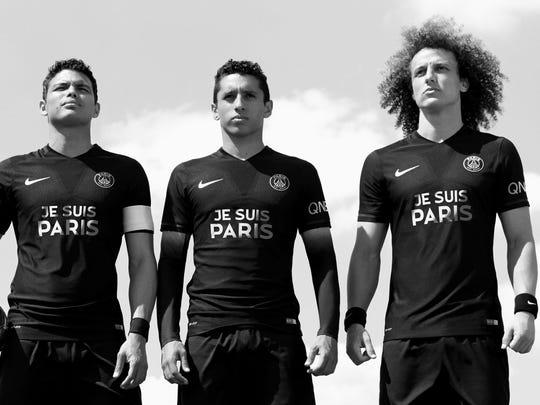 Paris Saint-Germain soccer players Blaise Matuidi,
