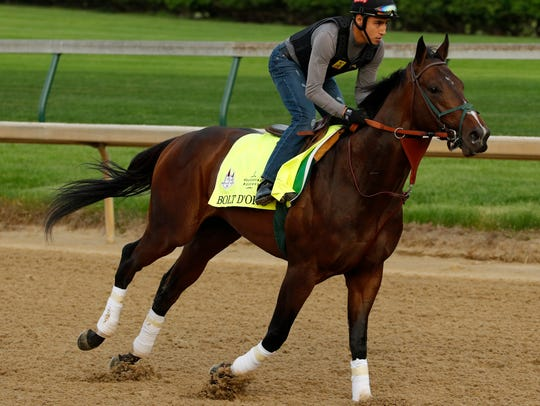 Bolt d'Oro, pictured at Churchill Downs on May 3, will