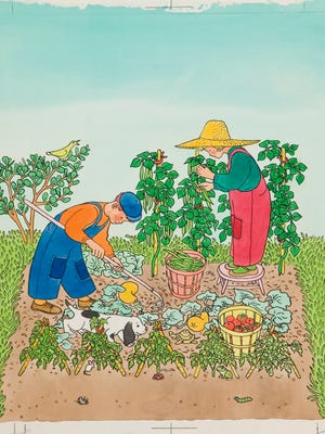 Gertrude Elliott's watercolor, pen and ink illustration for the 1951 book  Two Little Gardeners .