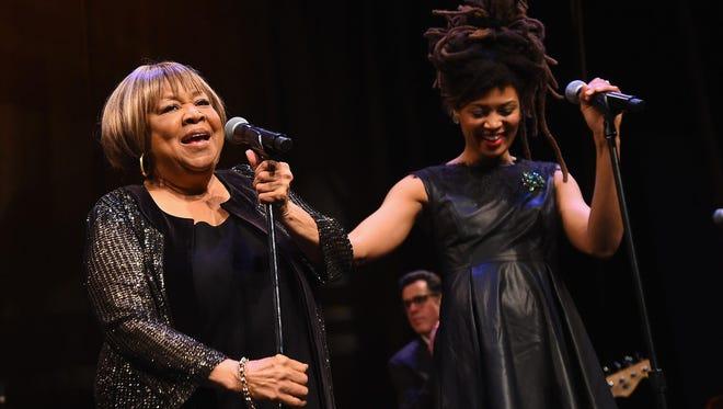 "Mavis Staples, left, performs with Valerie June following the New York premiere of the HBO Documentary film ""Mavis!"""