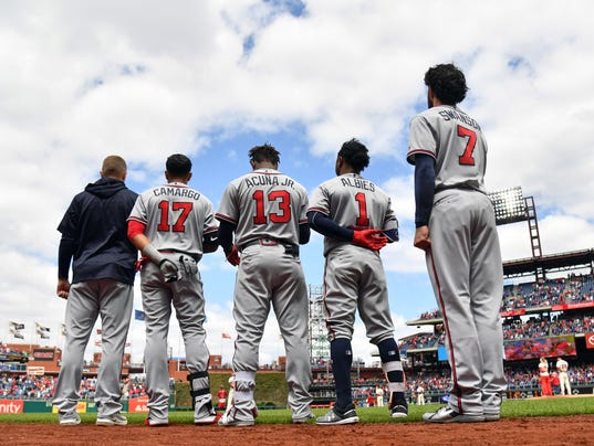 USP MLB: ATLANTA BRAVES AT PHILADELPHIA PHILLIES S BBN PHI ATL USA PA