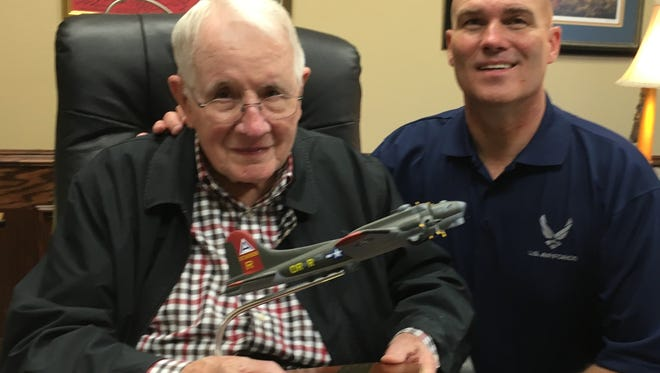 Wichitan Bill Thacker, 94, reflects on his missions as a gunner on a B-17 Fortress during World War II with Robert London, an Air Force veteran who is his friend and driver. Thacker served on 30 missions over France and Germany from July 21, 1944, to March 28, 1945. His missions were a topic of discussion for them on V-E Day, observed May 8. Victory in Europe Day was May 8, 1945, marking the Allied victory in Europe.