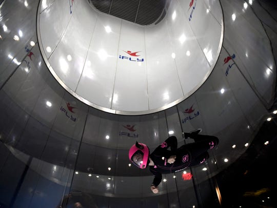 Ryan Casserly, 11, of Rockland County has been indoor skydiving for three years. Ryan demonstrated her skills in the tunnel for the opening of iFly Paramus on Tuesday, April 3, 2018.