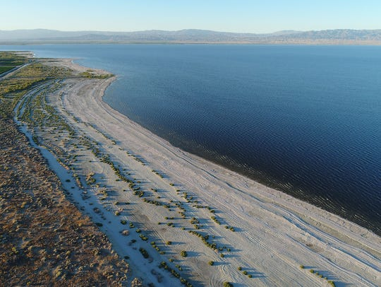 The Salton Sea as seen from a drone on May 19, 2017.
