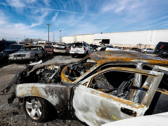A burnt out stolen Dodge Charger sits in the Memphis Police Department's impound lot on Klinke Ave. Vehicles and car-break-ins are on the rise in Memphis. In the first 28 days of the new year, 495 vehicles have been stolen and 439 car break-ins have occurred.