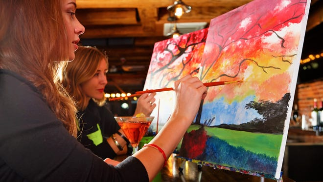 """Paint Nite is a """"social painting"""" company that pairs fine-art painting sessions with drinks, food and friends in a bar or restaurant setting. It recently arrived in Springfield to compete with RSVPaint and The Social Easel."""