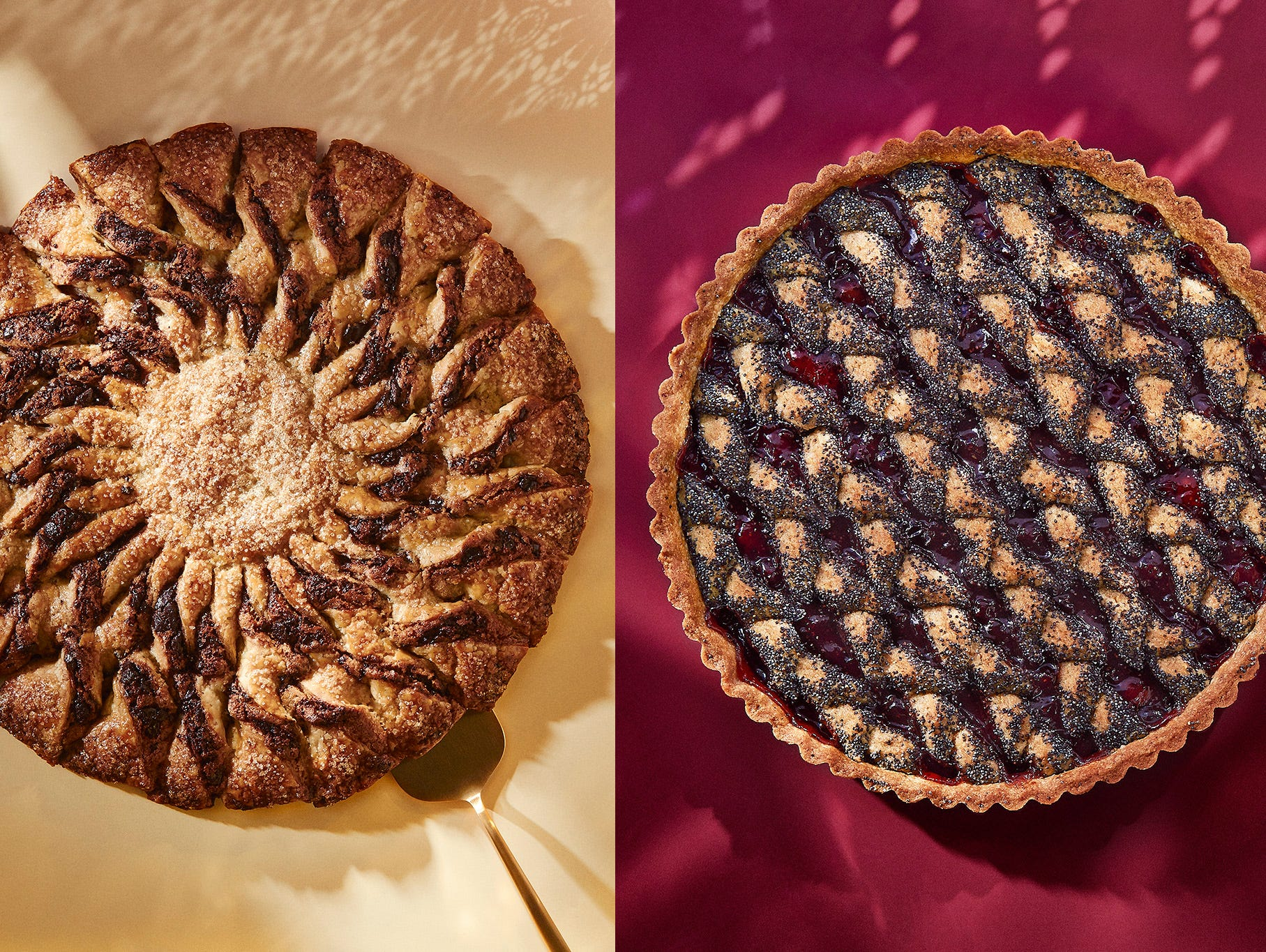 Chocolate-Sesame Tarte Soleil and Red-Currant Poppyseed Linzer Torte will add flair