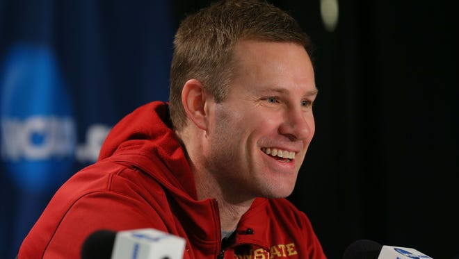 Iowa State  coach Fred Hoiberg speaks during a press conference during practice for the East regional of the 2014 NCAA Tournament at Madison Square Garden.