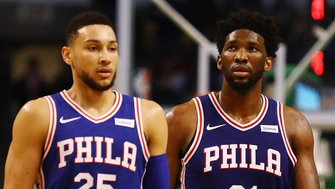 Ben Simmons (left) and Joel Embiid of the Philadelphia 76ers have caused matchup problems for opponents this season.