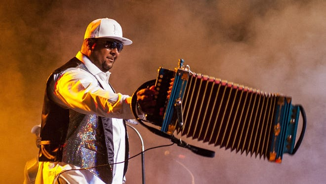Keith Frank entertains the crowd at the 2015 Zydeco Extravaganza at Blackham Coliseum.
