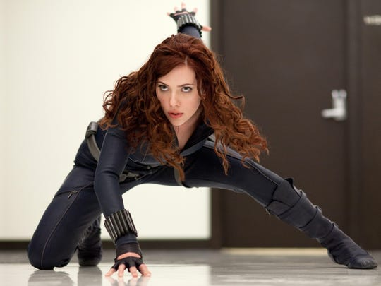 "Black Widow (Scarlett Johansson) in her first wig and iteration in ""Iron Man 2."""