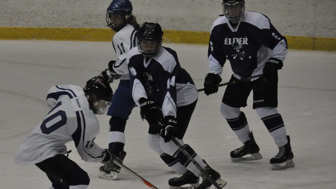 Elder's Ron Larkin, No. 14, scored 24 goals and added a program-record 35 assists for the Panthers.