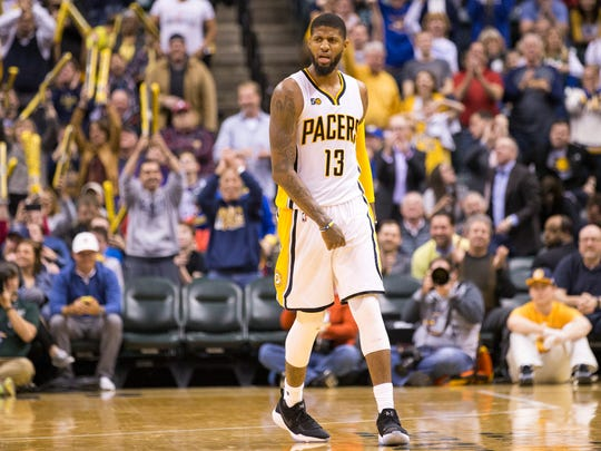 Paul George, near the end of the winning effort by Indiana, Utah Jazz at Indiana Pacers, Bankers Life Fieldhouse, Indianapolis, Monday, March 20, 2017. Indiana won 107-100.