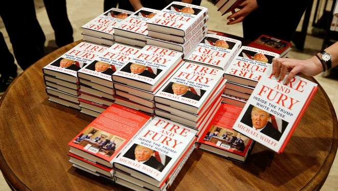 Michael Wolff's 'Fire and Fury: Inside the Trump White House' on display as they go on sale at a bookshop, in London.
