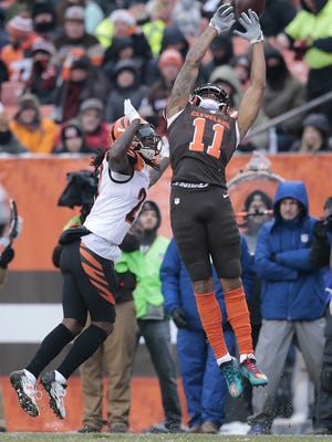 A pass intended for Cleveland Browns wide receiver Terrelle Pryor (11) sails high in the fourth quarter during the Week 14 NFL game between the Cincinnati Bengals and the Cleveland Browns, Sunday, Dec. 11, 2016, at FirstEnergy Stadium in Cleveland. Cincinnati won 23-10.
