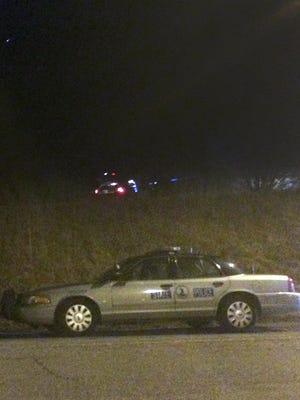 Police investigate a Feb. 5 shooting near the Weyers Cave rest area along Interstate 81.