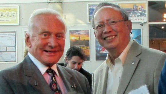 Astronaut Buzz Aldrin (left) with NASA engineer Gilroy