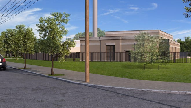 A rendering shows a new, historic-looking design for a proposed generator building at the Louisville Water Co.'s water treatment plant complex in Crescent Hill.  Not all trees are shown.