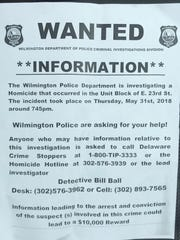 Wilmington police passed out this flyer asking for help from local residents.