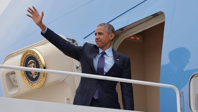 President Barack Obama on Air Force One.