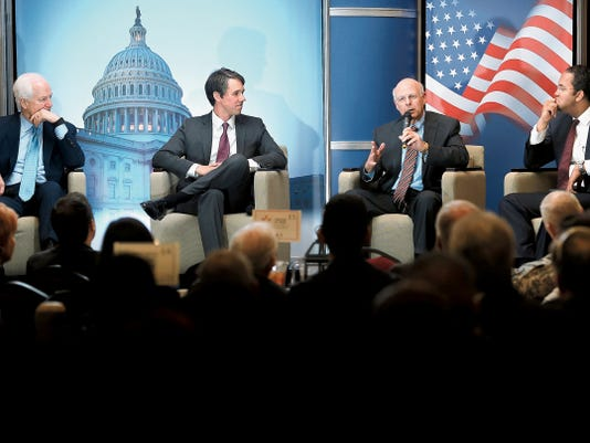 """MARK LAMBIE—EL PASO TIMES  U.S. Sen. John Cornyn, R-Texas, left, U.S. Rep. Beto O'Rourke, D-Texas, U.S. Rep. Steve Pearce, R-New Mexico, and U.S. Rep. Will Hurd, R-Texas, speak during the """"State of Congress"""" hosted by the Greater El Paso Chamber of Commerce Thursday."""