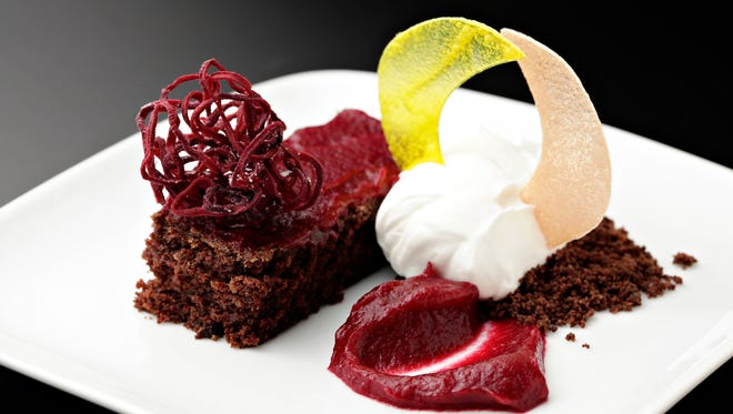 The chocolate beet cake with raspberry beet sauce and chocolate crumble from Top Home Chef candidate Alison Tedor.