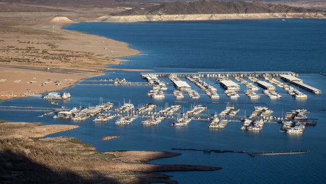 The Las Vegas Boat Harbor and Lake Mead Marina show how the water level has fallen. The water level is expected to hit a record low this weekend and continue to dive this summer.