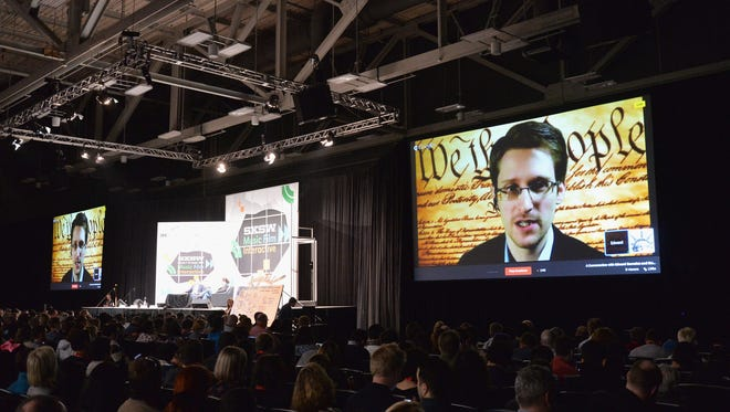 NSA whistle-blower Edward Snowden speaks via videoconference  at SXSW.