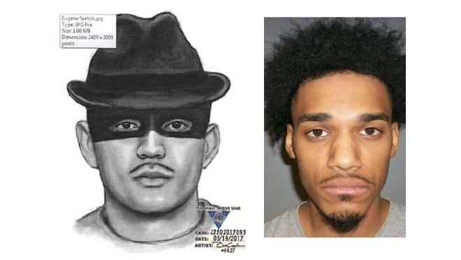 Jermaine Ramirez, 25, of Newark was arrested at Belleville Police headquarters after admitting to a Friday, May 19, 2017 burglary in the township. State police had released the sketch, at left, which helped authorities to identify him.