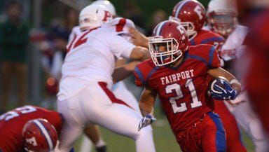Fairport's Dom Gombetto looks for a hole against Penfield on Friday, Sept. 15.