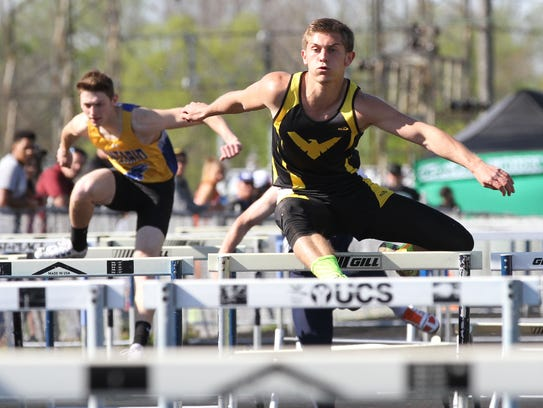 Colonel Crawford's Owen Adams competes in the 110 meter