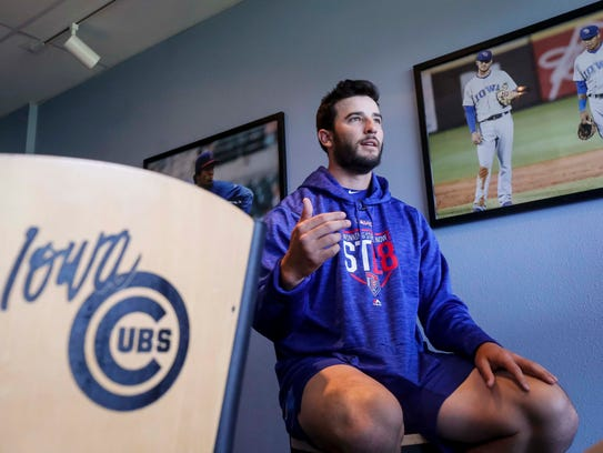 Iowa Cubs' pitcher Dillon Maples talks during media