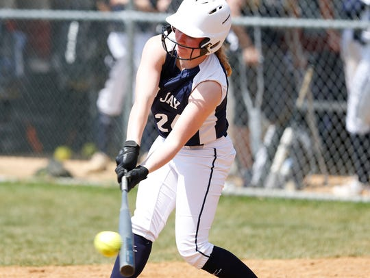 John Jay's Kelly Rattigan connects with a pitch during