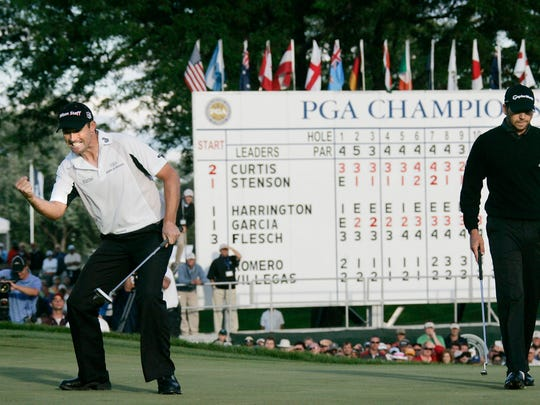 Padraig Harrington wins the 2008 PGA Championship at Oakland Hills as Sergio Garcia looks on.