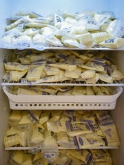 Pouches of milk are stored at the Nashville General
