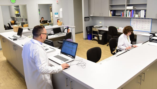 The nurse station. The Bergen Volunteer Medical Initiative moved to a new and larger location on Essex St in Hackensack.
