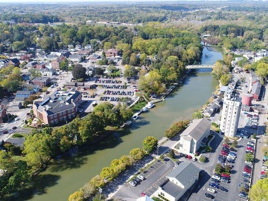 An aerial view of Pittsford Village from Schoen Place