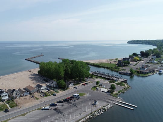 The public boat launch at Irondequoit Bay State Marine Park is just west of the Outlet Bridge.