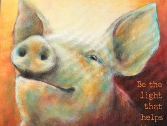 Sims has painted a series featuring rescued farm animals