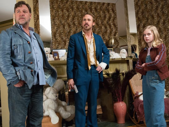 "Russell Crowe, Ryan Gosling and Angourie Rice star in ""The Nice Guys."""