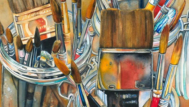 """""""Tool of the Trade,"""" a watercolor work by Lori Pitten Jenkins."""