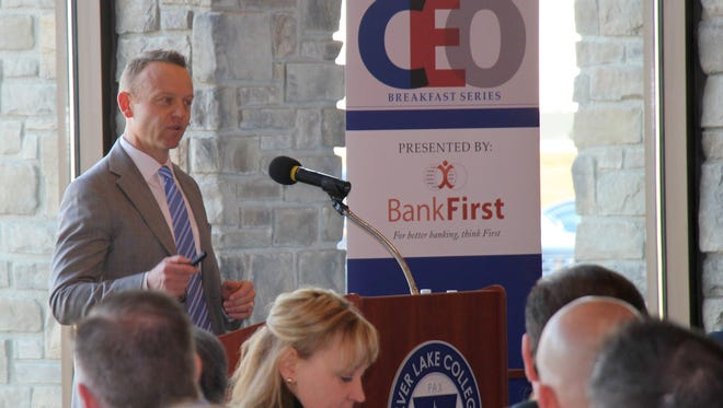 Kaysun CEO Ben Harrison speaks about corporate wellness during the March 29 President's CEO Breakfast at Silver Lake College.