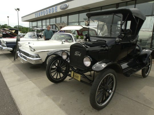 New and old Ford cars were on display outside Tenvoorde