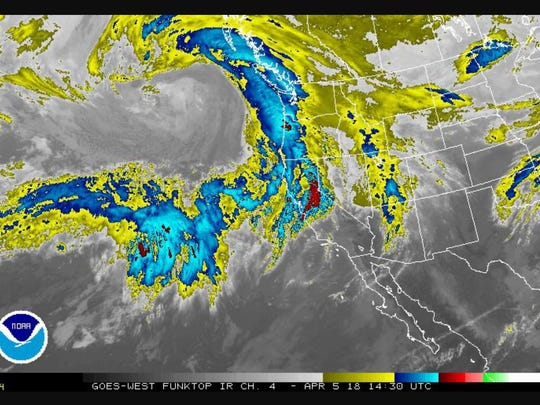 Satellite image of water vapor in an atmospheric river approaching the west coast of the U.S. on April 5, 2018.